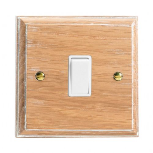 Varilight XK1LOW Kilnwood Limed Oak 1 Gang 10A 1 or 2 Way Rocker Light Switch